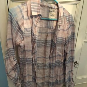 Light pink and blue plaid button up